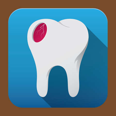 cavities: tooth with red caries Illustration