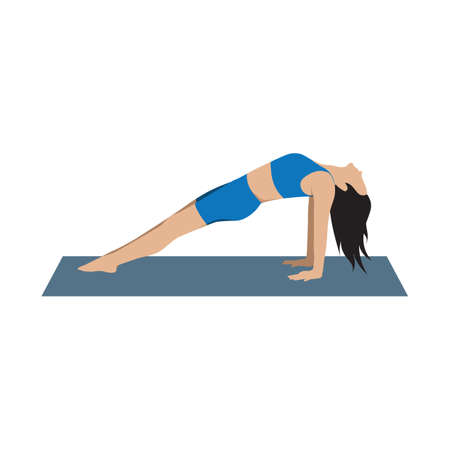 reverse: woman in yoga reverse plank position