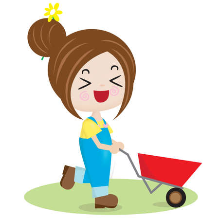 wheelbarrow: girl with wheelbarrow