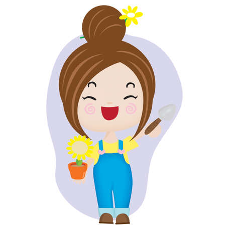 potted: girl holding shovel and potted plant