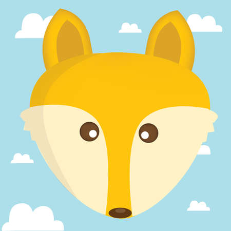 fox face: fox face on cloud background