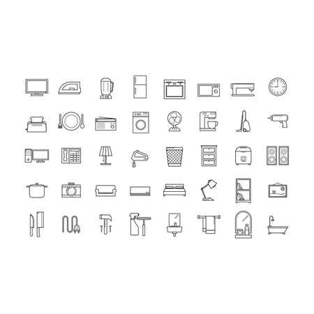chest wall: set of home appliance icons Illustration