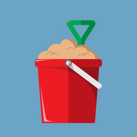 seashores: a bucket of sand with shovel