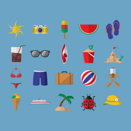 sandcastles: set of summer icons
