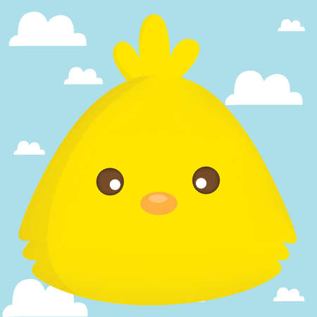 chick: chick face on cloud background Illustration