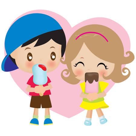 pareja comiendo: par de comer el helado