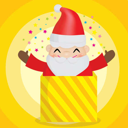 x mas background: santa claus in the gift box