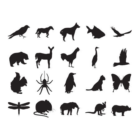 ensemble de silhouettes d'animaux
