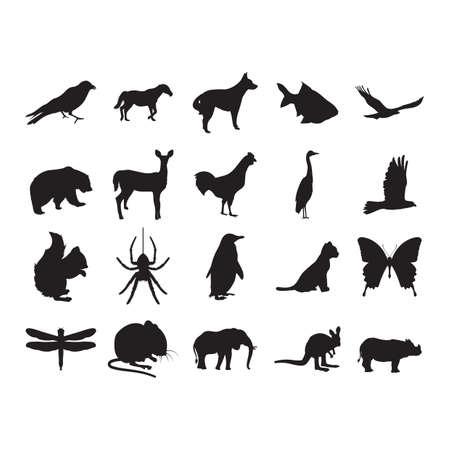 insieme di sagome di animali