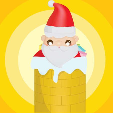 x mas background: santa claus in chimney