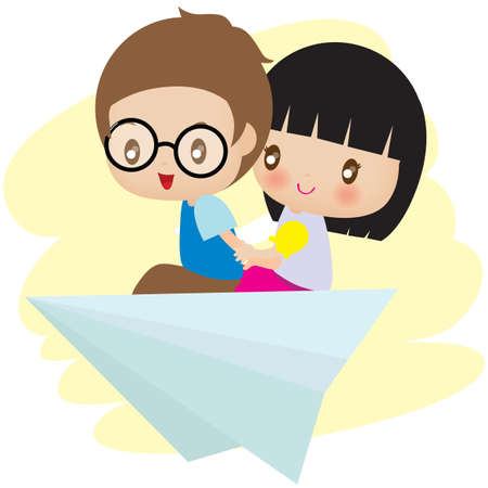 paper flying: couple flying on paper plane Illustration