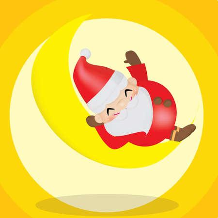 x mas background: santa claus sleeping on moon