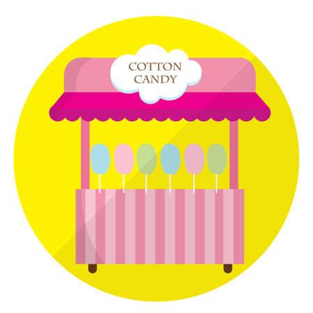cotton candy: puesto de algod�n de az�car Vectores