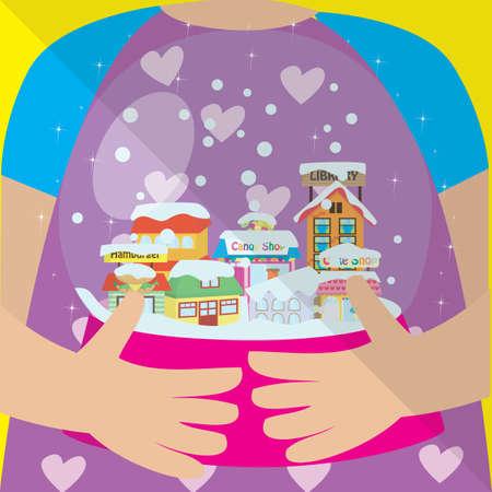 snowball: girl holding snowball Illustration
