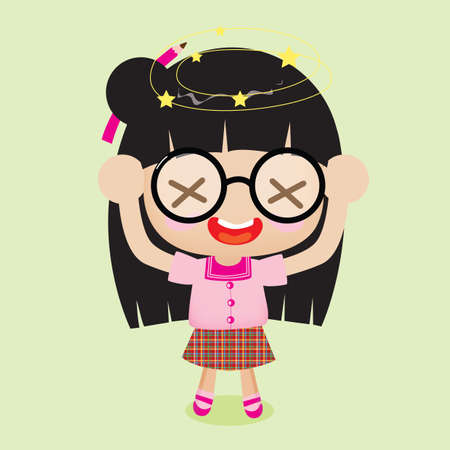 irritated: girl with crossed out eyes Illustration
