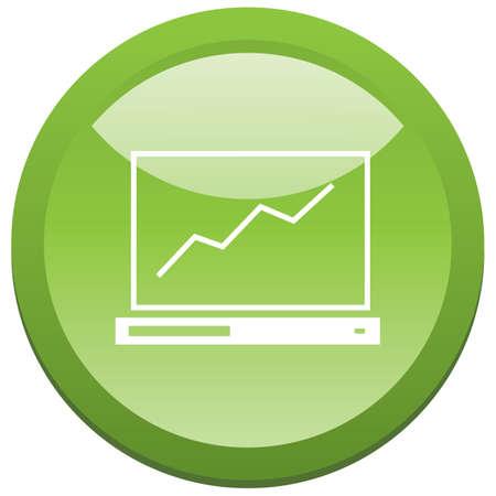 trend: trend line on laptop button Illustration