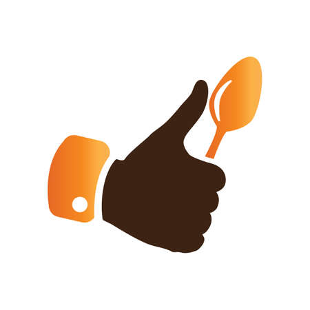 thumbsup: hand holding a spoon Illustration