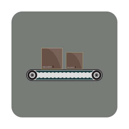 karton op transportband Vector Illustratie
