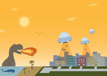 destroying: dragon destroying city Illustration