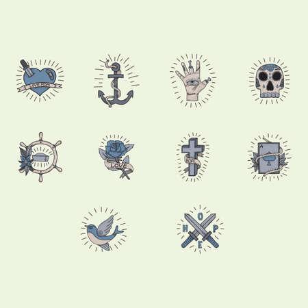 colección de diseño del tatuaje de color