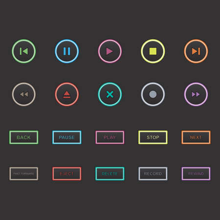 eject: collection of media player buttons Illustration