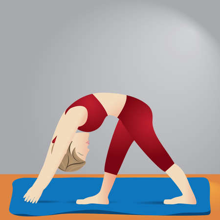 stretch: girl practising yoga in intense side stretch pose Illustration
