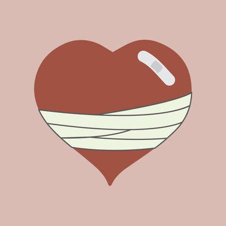 injured: heart injured Illustration
