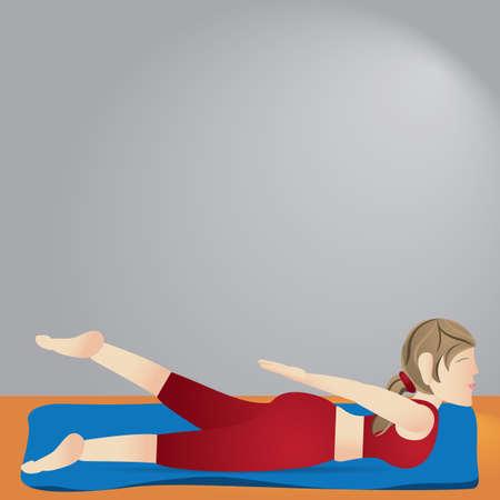 variation: girl practising yoga in locust pose variation Illustration