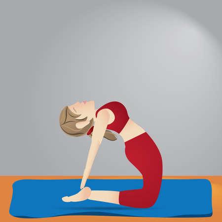Ragazza, praticare, yoga, cammello, posa