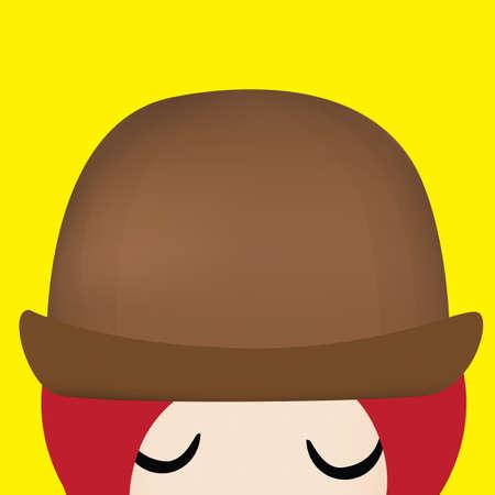 fedora: girl with fedora hat Illustration