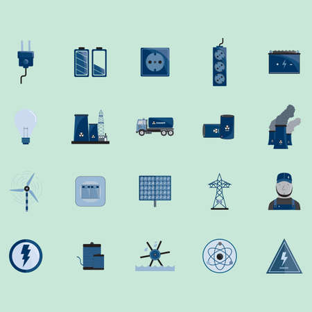 water mill: electric icons set