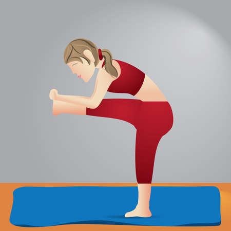 big toe: girl practising yoga in extended hand-to-big-toe pose
