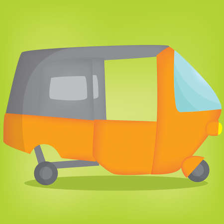 three wheeler: auto rickshaw Illustration