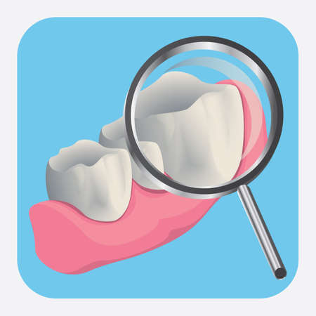periodontal: teeth with magnifying glass