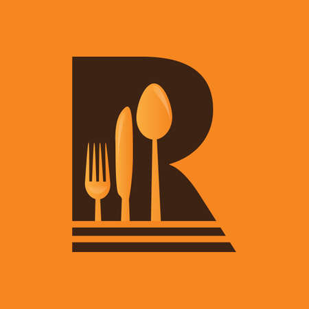 butter knife: silverware in an alphabet icon Illustration