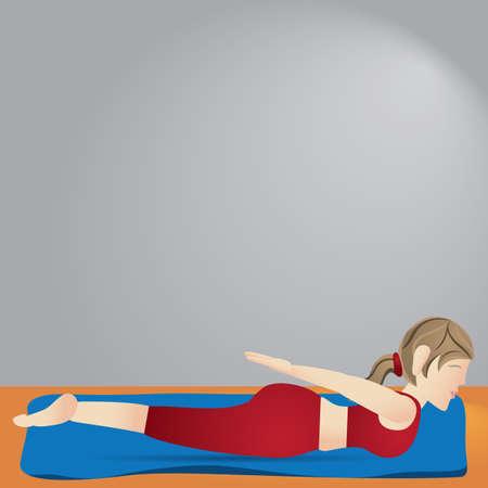 ragazza praticare lo yoga in posa della locusta