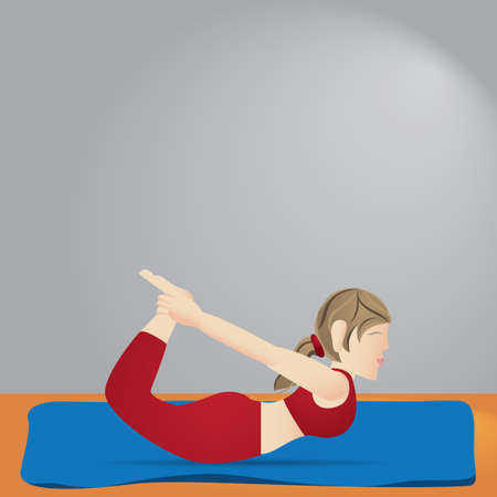 girl practising yoga in bow pose