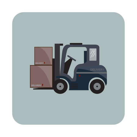 forklift truck: forklift truck with cardboard Illustration