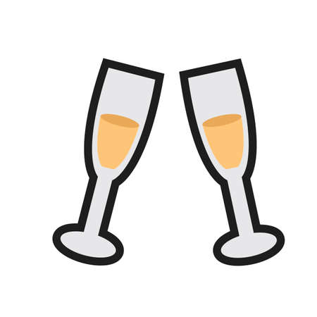 toasting: toasting gesture of two champagne glasses Illustration