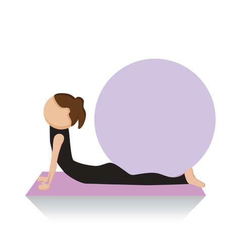 facing: girl practising yoga in upward facing dog pose Illustration