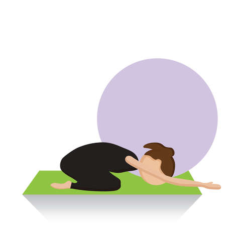child's: girl practising yoga in childs pose Illustration