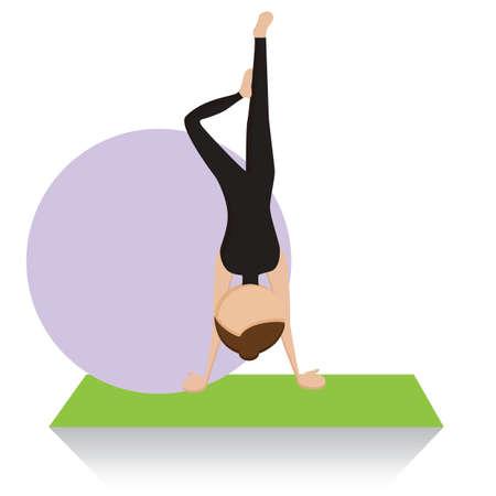 handstand: girl practising yoga in handstand pose Illustration
