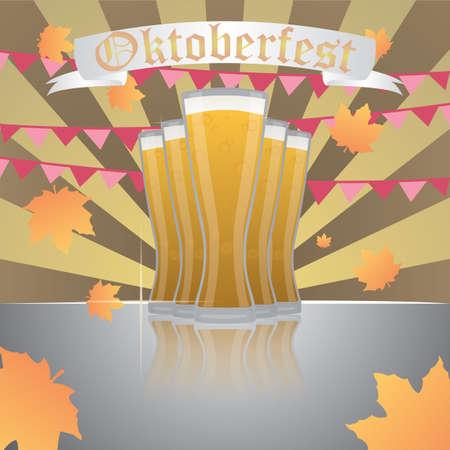 oktoberfest background with beer Illustration