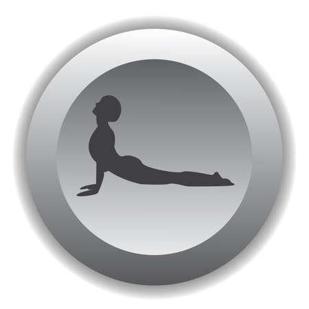 facing: girl silhouette practising yoga in upward facing dog pose