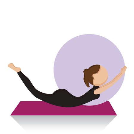 girl practising yoga in locust pose