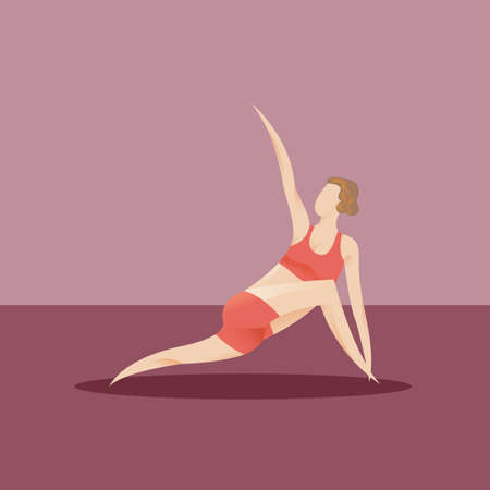 side angle pose: girl practising yoga in revolved side angle pose Illustration