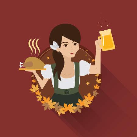 bavarian: bavarian waitress Illustration