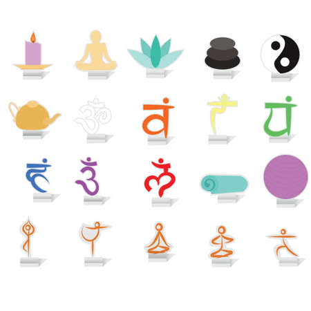 chakra balancing: set of yoga icons