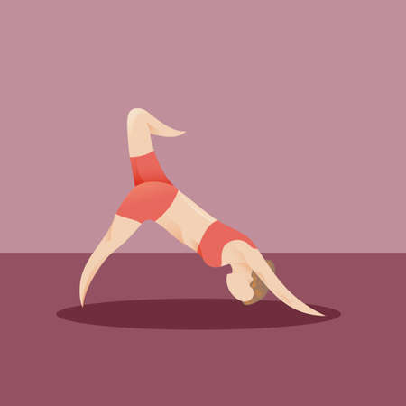 downward: girl practising yoga in downward dog pose variation