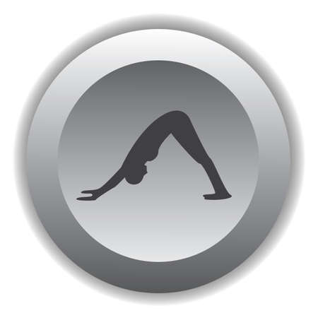 downward: girl silhouette practising yoga in downward dog pose